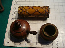 3 items, Wood Bowl from Soviet Union, wood bowl, and pottery long tube ?