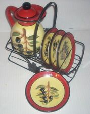 Certified International 7 Piece Cruet Pitcher and Oil Dipping Plates and Holder