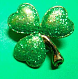 HALLMARK GREEN SPARKLE SHAMROCK ST PATRICKS DAY GOLD METALSCATTER PIN (P82)
