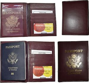 Lot of 4 New lambskin leather Passport cover. ID case credit card wallet BN
