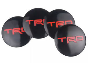 Set of 56mm BLACK & RED Domed Wheel Centre Cap Cover Stickers For TRD Car
