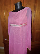 Vtg 70s Lorrie Deb Silk Chiffon Pink ROMANTIC Wedding Boho Party Maxi DRESS Gown