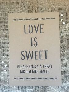 Personalised wedding sweet/candy 'Love is Sweet' table sign A4 brown Kraft card