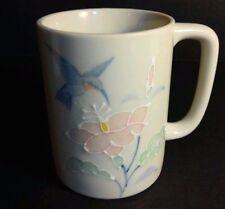 Otagiri Hummingbird Coffee Mug Embossed Pink Flowers Humming Bird Tea Cup Japan