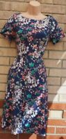 MONSOON BLUE FLORAL PINK WHITE SHORT SLEEVE A LINE CURVY FIT SKATER DRESS 8 S