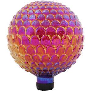 Sunnydaze Red Scalloped Texture Outdoor Garden Glass Gazing Globe - 10-Inch