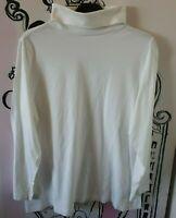 Womens Size 16-18 Ulla Popken White Turtleneck Top Long Sleeve High Neck Cotton