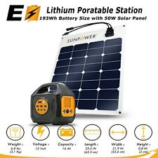 200W Portable Power Station with Options of SunPower 50-watt Flexible Panel