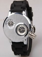 BLACK DUAL TIME ZONE LARGE WATCH ANALOGUE WRISTSTRAP WIDE STEAMPUNK RUBBER STRAP