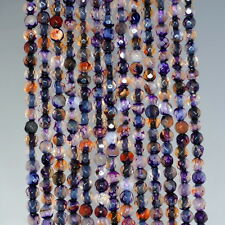 """4MM  AGATE GEMSTONE LIGHT PURPLE FACETED ROUND LOOSE BEADS 15"""""""