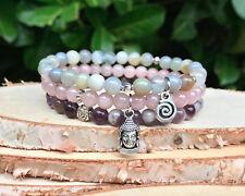 Buddha Lotus Armband Set Jade Achat Amethyst Mala Armband