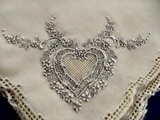 "12 Antique Appenzell Linen 18"" Napkins Fab Hand Embroidered Heart Medallion Ec"