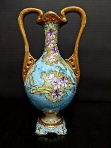 Very Old Nippon Porcelain Hand Painted Double Handle Vase Urn, Moriage