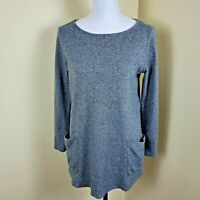 Pure Jill Top Shirt Long Sleeve Cotton Knit Loose Fit Pockets Gray Size S Small