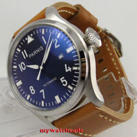 47mm parnis black dial date brown leather strap seagull automatic mens watch P38