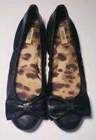 GUESS Women's Black Leather Ballet Flats With Bow Shoes! Size 8,5