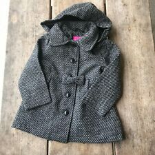 53ef05fb Little Toddler Girls Pink Platinum Gray Tweed Hooded Coat NEW NWT 24 mo