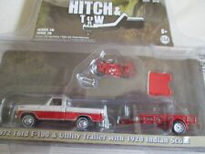Miniature 1/64 Or 3 Inches Greenlight Set Ford F 100 +Trailer+ Moto Indian