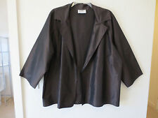 ZORAN 100% Silk Taffeta Made in Italy Open Front Jacket, Nut Brown, One Size