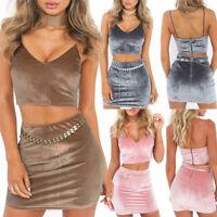 Women's Sexy Casual Velvet Sling Crop Top Mini Dress Party Skirt Two-piece Set