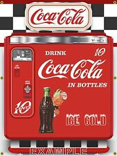 VINTAGE COCA COLA CHEST VENDING COKE MACHINE STYLE BANNER SIGN MURAL ART 3' X 4'