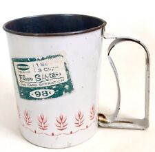 Vtg Androck 3 Cup Flour Sifter White Red Wheat Litho Rusted Kitchen Display