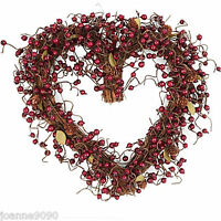 GISELA GRAHAM FESTIVE RED BERRY TWIG LOVE HEART WREATH CHRISTMAS DECORATION GIFT