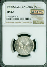 1968 CANADA SILVER 25 CENTS NGC MS-66 FINEST GRADE  MAC SPOTLESS *