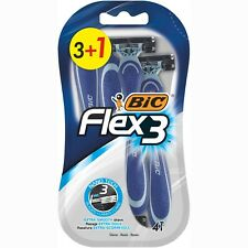 BIC Flex 3 Triple Blade Movable Razors Disposable Non-slip Grip Smooth Glide 4pc