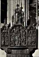 Kirchen Motiv-Postkarte Innenansicht mit Rochus-Altar Kirche in Rostock DDR AK
