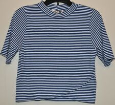 So Rad Juniors Blue Striped Short Sleeve Mock neck Rib Knit Top Size XL