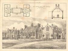 1883 ANTIQUE ARCHITECTURE, DESIGN PRINT- HARPUR TRUST GIRLS SCHOOLS, BEDFORD