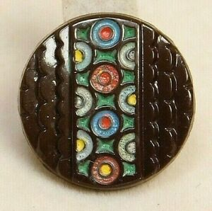 Small Vintage Realistic Brown Moonglow Glass Leaf Button
