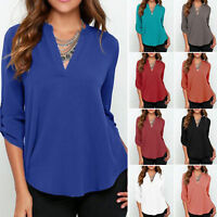 Women Long Sleeve Loose Deep V Neck Chiffon Soft Large Size Blouse Shirts Hot