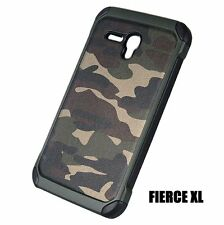 Alcatel One Touch Fierce XL -HARD RUBBER HYBRID ARMOR CASE GREEN CAMOUFLAGE ARMY