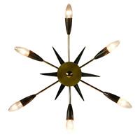 50er Sputnik Lampe Messing und Schwarz Spider D. 47 cm Vintage Decken Leuchte