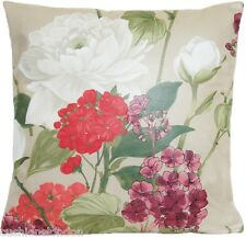 Roses Housse de coussin NINA CAMPBELL tissu Penrose Vert rose rouge vin Beige