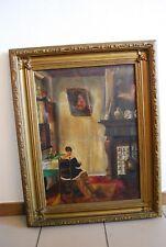 T1 Ancienne Peinture sur toile sur un magnifique cadre