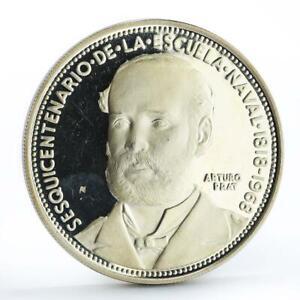 Chile 5 pesos 150 Years of Naval Academy Arturo Prat silver coin 1968