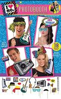 80s Retro Selfie Photobooth Signs Props 18 Piece Set Party Games Kit Fancy Dress