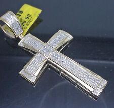 "10K Men's Yellow Gold Cross With 0.67CT Diamond 2.5"" Long/ Jesus, Angel"