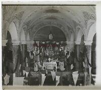 Eglise Cerimonia Francia Foto Stereo Th1n20 Placca Da Lente Vintage c1920