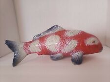 Coi Fish Figurine Pottery, Red, Blue & White.