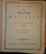 Rar! Sachsen-Meiningischer Kalender 1869 Meiningen mit Werra-Eisenbahn Fahrplan