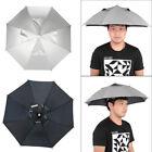 Adjustable Headband Umbrella Hat Outdoors Fishing Protection Cap Handfree Silver