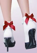 Rockabilly Retro White Ankle Socks With Lace Ruffle Trim with Red or Black Bow