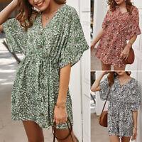 Summer Women Boho Floral Print Dress Mini Dress Beach Party Sundress Dress