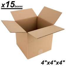 """x15 Small Cardboard Shipping Boxes - 4""""x4""""x4""""in - Kraft Corrugated Mailing ..."""
