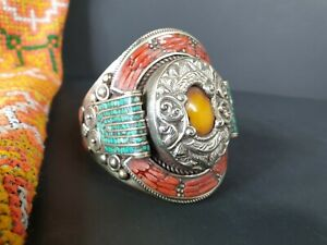 Old Tibetan Silver Bracelet with Red Coral, Turquoise and other Local Stones