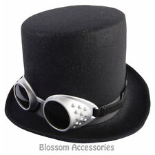 Steampunk Black Top Hat With Silver Goggles. Forum Novelties.